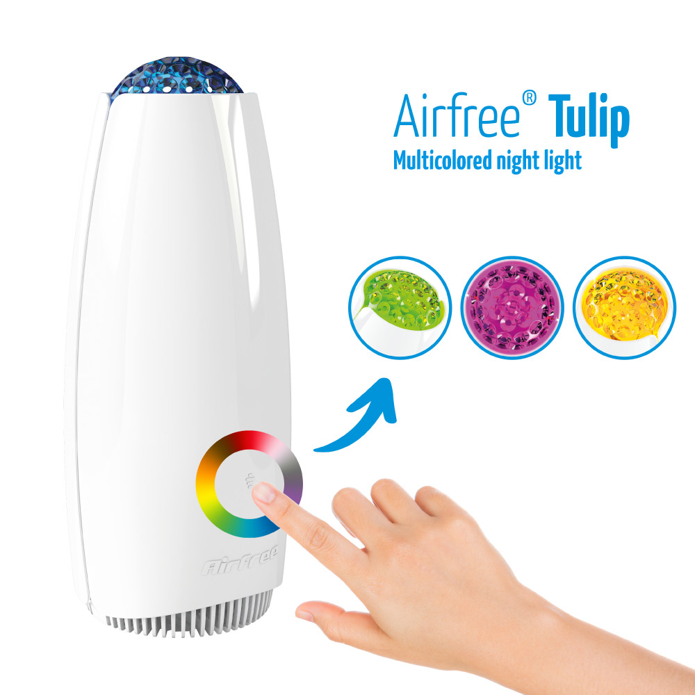 airfree tulip has a multicolored night light feature