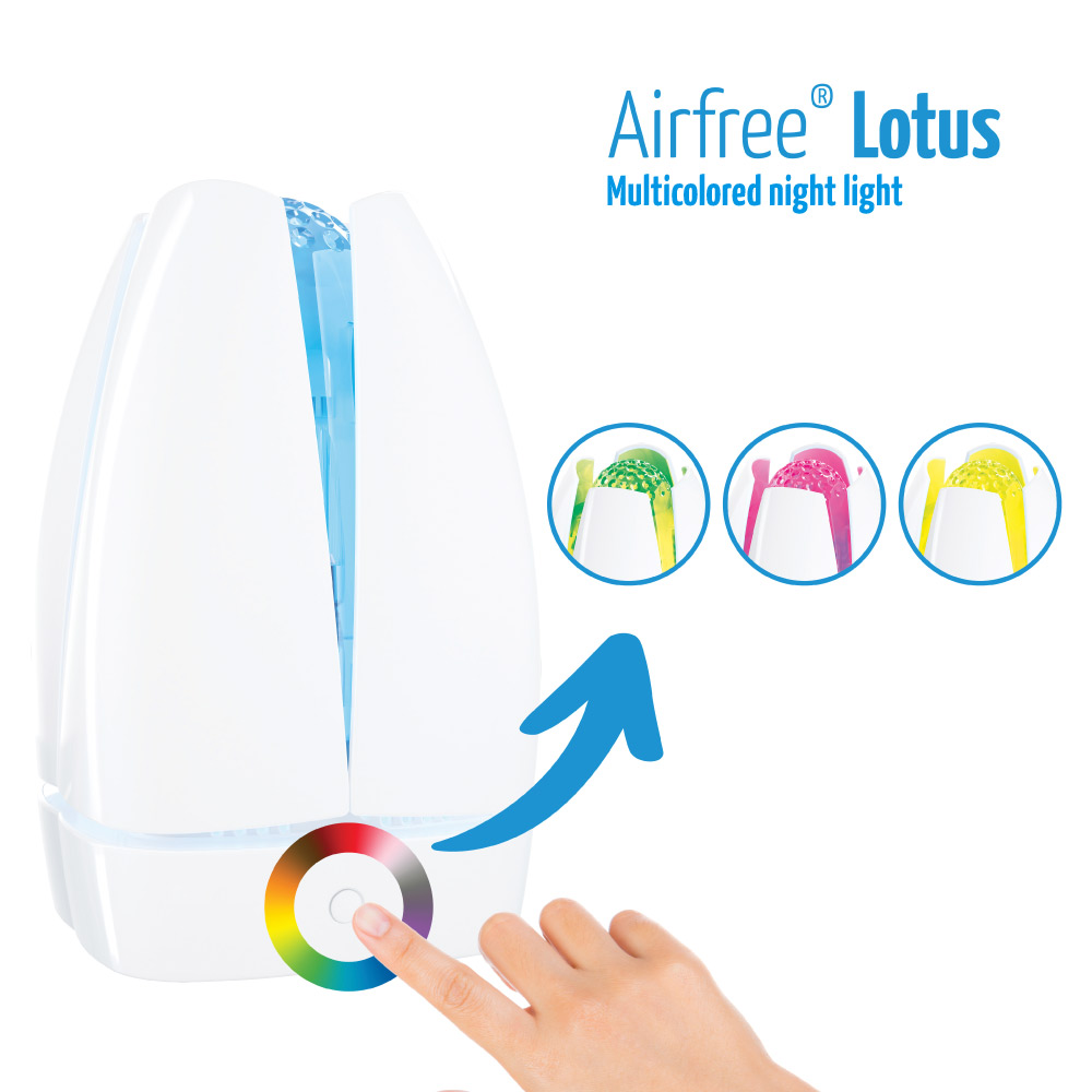 airfree lotus has a multicolored night light feature
