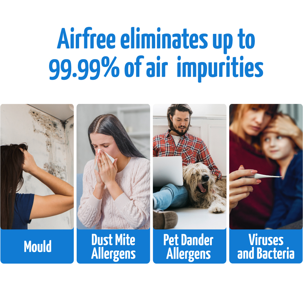 airfree eliminates up to 99 per cent of air impurities